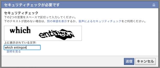 CAPTCHAの入力チェックポップアップ画面